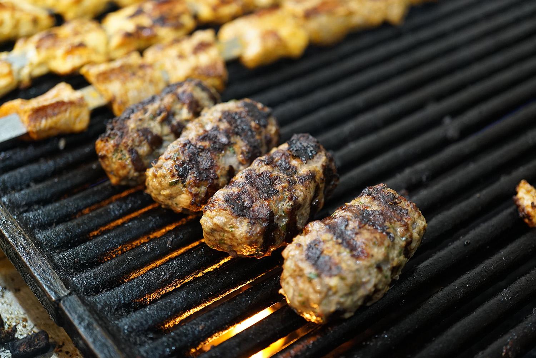 Kufta Kabob on the grill zyara restaurant nyc