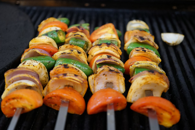 Vegtables on grill skewers